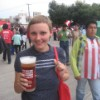 Christiane gets into the spirit for the Chivas game, Guadalajara.