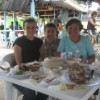 A fishy feast with Christiane's mother, Playa del Carmen.